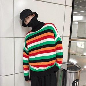 Thick Turtleneck Para Sweater Moda Men Sweater Oversize Streetwear Mens capuz Camisolas High Street Masculino listrado do arco-íris