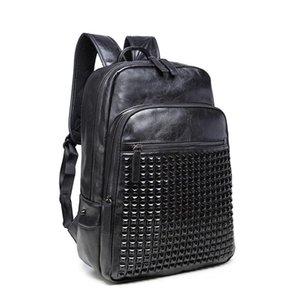 Casual Men Backpack Rivets PU Leather School Bag 15.6 '' Laptop Backpacks Large Black Travel Man Backpacks Solid Waterproof Bag