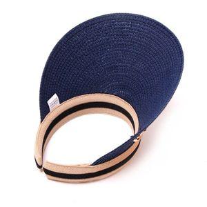 Elegant Big Wide Brim Foldable Anti-UV Beach Sun Floppy Hats Flat Caps Women's Sun Hats Straw Visor Caps #B