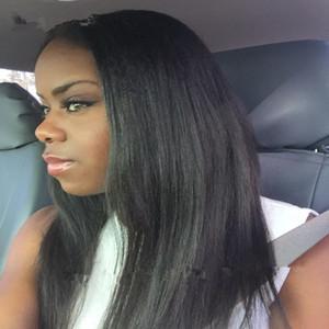 yaki luz peruca de 360 dianteira do laço humano perucas de cabelo para cabelos africano americano Yaki humano peruca Glueless yaki em linha reta cabelo frontal Wig