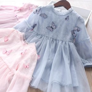 Girls stereo butterfly dress 2020 Fall new children ruffle collar lace embroidered tulle dress kids puff long sleeve princess dress A3436