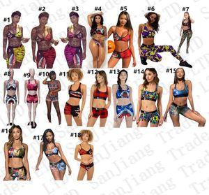 18 cores Mulheres Swimsuit Beachwear I em forma Vest Top Bra + Tronco Shorts Pants 2 peças Bikini Set Camo tubarão Swim Suit Swimwear E22908