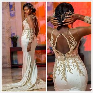 Aso Ebi 2020 Lace frisada Sereia Prom Sheer Festa Formal mangas de cetim longo Árabe Luxo Trem da varredura vestidos de noite Recepção