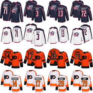 Columbus Blue Jackets Jersey 3 Seth Jones 71 Nick Foligno Philadelphia Flyers Jersey 28 Claude Giroux 17 camisola do hóquei Wayne Simmonds