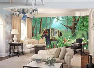 Foto 3d papel tapiz nórdico planta tropical árbol de coco animal elefante paisaje TV Fondo de la pared Selva Mural Wallpaper