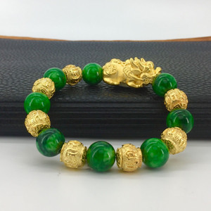 LY01 Vietnamese sand gold plated 24K gold green jade stone sand gold pixiu bracelet