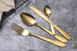 cucchiaio forchetta cucchiaino coltello Oro Posate il trasporto libero opaco oro in acciaio inox alimentare Argenteria da tavola di utensili