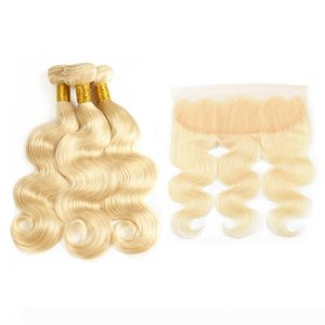 #613 Platinum Blonde Body Wave Hair Weave With Lace Frontal Ear To Ear Closure With Bundles Bleach Blonde Brazilian Human Hair Extensions