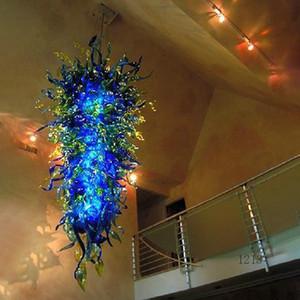 Rétro Lustres en cristal bleu LED E14 Grand Empire de style européen Lustres verre soufflé Lustre pour le salon