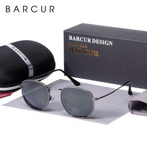 BARCUR New Glass Lens Reflective Sunglasses Women Sun glasses Men Stainless Steel Frame Eyewear Mirror Hexagon Oculos De Sol Y200619