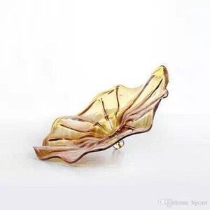 Düğün Dekoratif üfleme cam plaka Türk Murano Çiçek Şekilli Cam Tabaklar Dekoratif Şeffaf Cam Tabaklar Bulk