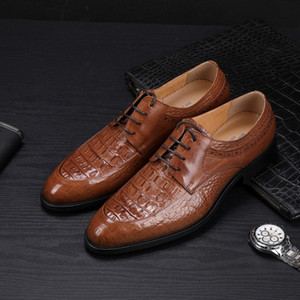 Men's Leather Shoes Business Dress Shoes Crocodile Pattern Leather Shoes Leather Wedding