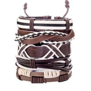 Vintage Feuille plume Bracelets en cuir Multilayer Punk Bangles pour Hommes Hip Hop Tressé main étoile corde Bracelet Vintage Jewerly Cadeaux