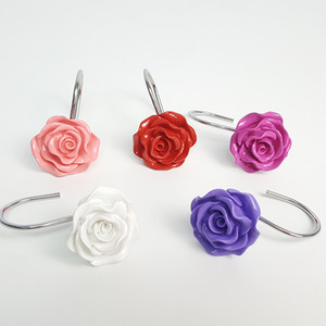 Multi Colors Bathroom Hook Resin Rose Modeling Hanging Hooks Purple Red White Shower Room Articles Hot Selling 18xda L1