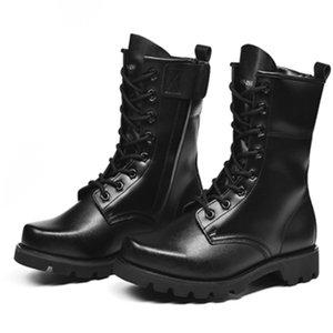 Idopy Homens Botas Pu Leather Man plana sapatos da moda à prova d'água militar de combate tático Calçado