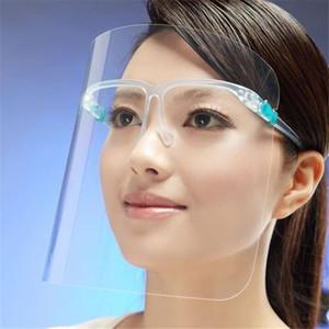 DHL Schiffs-Großverkauf PET-Gesichts-Schild mit Glashalter Sicherheits-Öl-Splash Proof Anti-UV-Schutz-Gesichts-Abdeckung transparente Gesichtsglasmaske