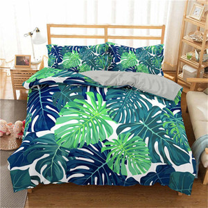 Boniu 3D Bettbezug Set Tropical Plant Bettwäsche Set Green Leaves Bedruckte Tagesdecke Mit Kissenbezug Single Size Luxury Bed
