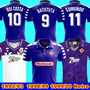 AC Florenz Retro 92 93 1998 1999 00 Retro camicia di calcio maglie Batistuta 99 00 Florence Home weg lange Hülse Retro Fußball-Trikot