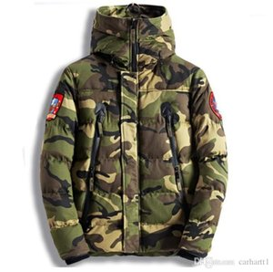 Sleeve Hooded Thick Male Cotton Coats Casual Warm Male FW Outerwear Camouflage Designer Men Winter Coats Long