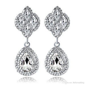 New Bridal Earrings with Crystals Rhinestones Water Drop Earring Bridal Jewelry Findings Wedding Accessories For Brides BW-073