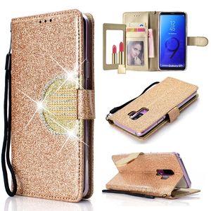 Étui portefeuille Bling Glitter Pour Samsung Galaxy Note 9 Diamant Flip Cover Mirror Pour Samsung Galaxy S9 S5 S6 S7 Edge S8 Plus Coque
