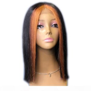 L Highlights Straight Short Bob 13x6 Lace Front Wigss With Natural Black Color Full Lace Human Hair Wigss For Black Women 150 %Density