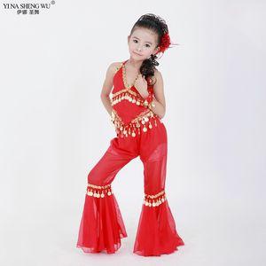 Çocuklar Bollywood Göbek Dansı Giyim Kız Bellydance Kostüm Mısır Belly Dance Kostümler Seti Oryantal Dans Kostümleri