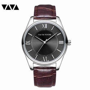 VA VA VOOM Men's Watches Stopwatch Date Hands Genuine Leather 30M Waterproof Clock Man Quartz Watches Men Fashion Watch 2019