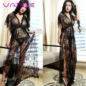 Vatine Sexy lingerie Side Slit Erotic Lingerie Black Lace Robe + T-Thongs Sexy Pijamas Suit vestido longo Pijamas profunda V-Neck T200517