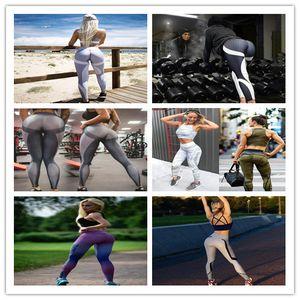 Mulheres de fitness yoga leggings finas padrão de favo de mel impressão hip push up gym musculação calças preto branco patchwork listras casual pant