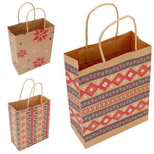 Natale Borsa della carta kraft geometrica stampa bambini Candy Borse Regali Wrap Bags For Xmas Party Forniture 1 06bm E1