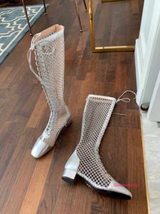 2020 Leather Long Boots Women Hollowing Out Flat Cut Fashion High Heel Shoes Woman Fashion Runway Long Boots wan1