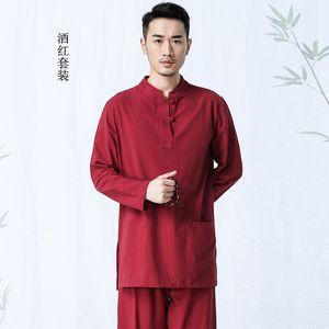 7 Renkler Erkek Yoga Suit Uzun Kollu Gevşek Pamuk Keten Nefes Meditasyon Giyim Erkek Takım Elbise Zen Giyim Tracksuits İki parçalı