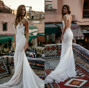 2020 Beading Mermaid Wedding Dresses Deep V Neck Lace Appliques Bridal Gowns Sweep Train Satin Backless Wedding Dress