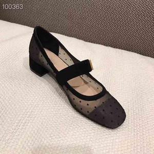 2019 Lussuose scarpe da donna, scarpe da balletto, scarpe da balletto con tacco medio del designer, vendite primaverili di scarpe da balletto di lusso, pacchetto completo