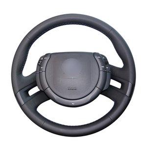 غطاء عجلة قيادة السيارة مصنوع من جلد صناعي أسود PU مصنوع يدويًا لسيارة C4 بيكاسو 2007 2008 2009 2010 2011 2012