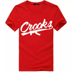 Crooks e castelos camisetas Homens de manga curta de algodão Moda Homem T-shirt CROOKS Carta Masculino T Shirt Tops Camiseta Tamanho S-3XL