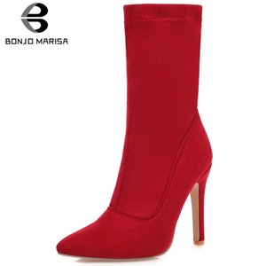 BONJOMARISA Plus Size 32-48 New Fashion Flock Boots Ladies Thin High Heels Shoes Woman Pointed Toe Party Sexy Boots