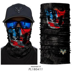 Череп Волшебный шарф езда Half Face Mask 10 Стили 3D Бесшовная Спорт Велоспорт Рыбалка Бандана оголовье Мужчины Женщины партии Маски OOA7822