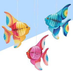 6 stücke = 1 satz Multicolor Seidenpapier Goldfisch Tropische Fische Meerestiere Hängen kindergeburtstag Party Supplies Ornament Dekoration falten