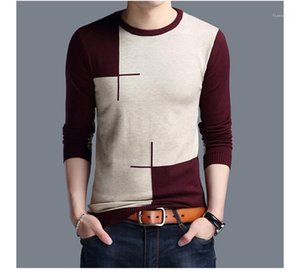 Pullover Contrast Color Long Sleeve Mens Sweaters Casual Panelled Males Clothing Designer Crew Neck Sweaters Fashion