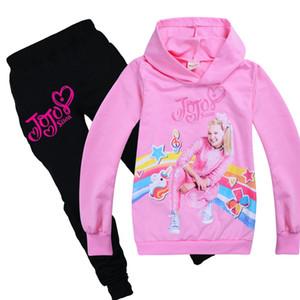 Venta al por menor ropa determinada chándales niñas JOJO Siwa capucha + pantalones de algodón adolescente niño de los cabritos con capucha ropa de niño del traje de Acción de Gracias