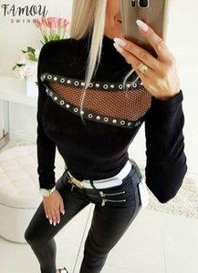 Women T Shirt New Fashion Winter Warm Long Sleeve Hollow Out High Neck Shirt Pullover Top T Shirt For Femme