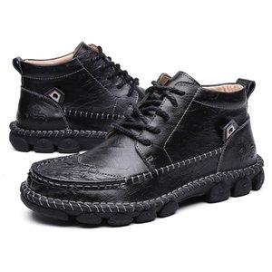2020 새로운 전체 판매 가을과 겨울 높은 남성 가죽면 신발 검은 갈색 겨울 킵 따뜻한면 부츠 크기 40-47