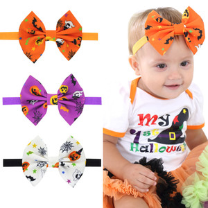 Halloween-Kürbis Druck Stirnbänder Elastizität Babys Bogen-Haar-Band-Haar-Zusätze Kinder Boutique Halloween Anzieh Kopfschmuck C635