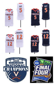 NCAA Virginia Cavaliers Jerseys 5 Kyle Guy 12 De'Andre Hunter UVA College Basketball Jersey Con Final Four Champions Tamaño parche S-XXXL