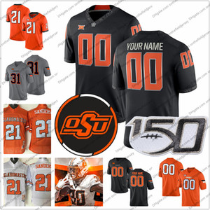 Personalizados Oklahoma State Cowboys Qualquer Nome Número # 2 Tylan Wallace 3 Spencer Sanders 30 Chuba Hubbard 81 Justin Blackmon Futebol Jerseys S-3XL
