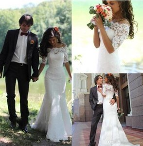 2019 simples Lace completa Vestidos de noiva sereia Alças meia manga Sweep Trem jardim vestidos de noiva pura para o casamento baratos Custom Made