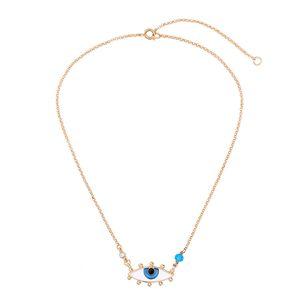 Зло ожерелье глаз для женщин девушки Blue Eye Gold Chain Necklace Everyday Good-Luck Charm Защита Кристалл ювелирные изделия