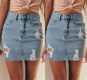 Wear Lápiz raído Minifalda Jeans Calle denim falda faldas de las mujeres de moda de alta Denim Mujer Falda de talle Nueva BodyCon caliente